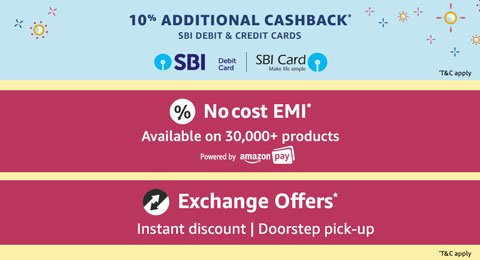 SBI, No cost emi and exchange offers