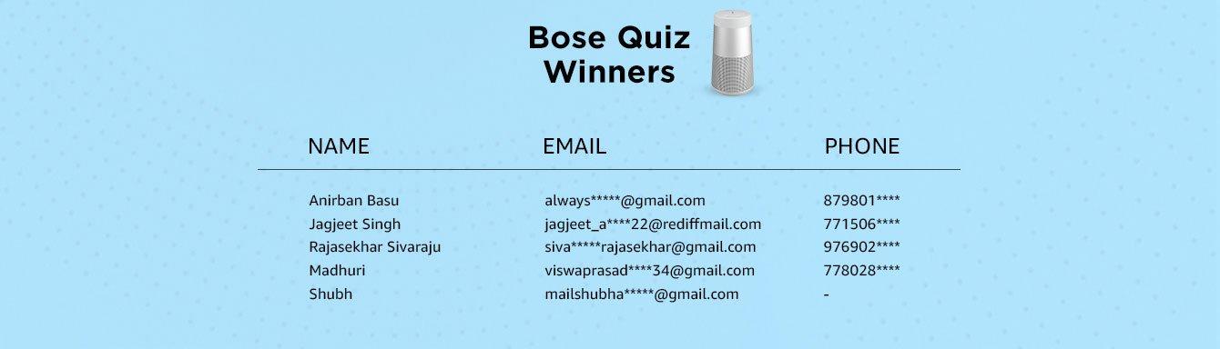 Bose Quiz Winners