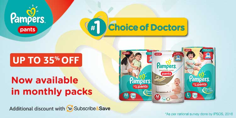 Up to 35% off Pampers monthly box packs
