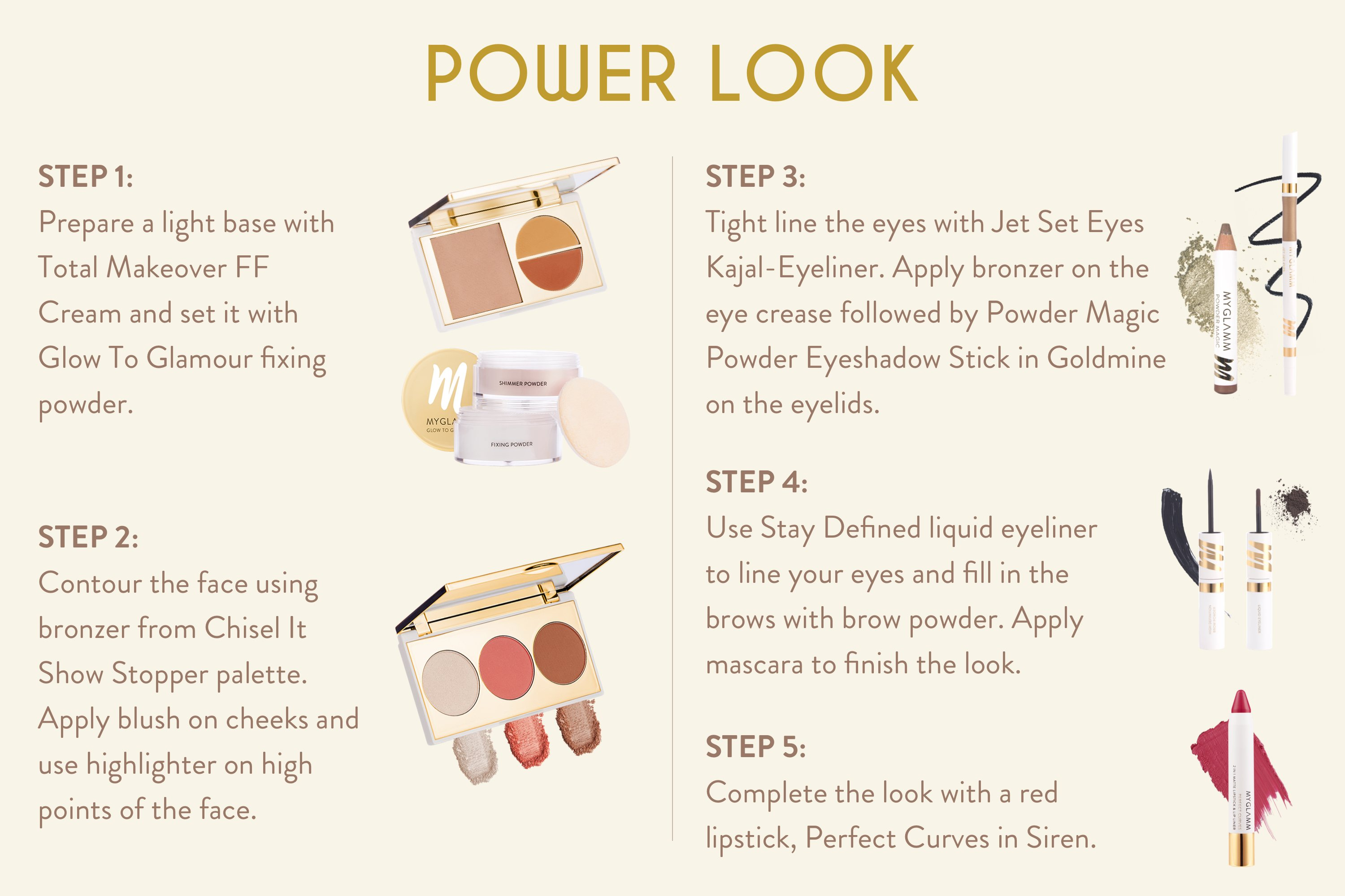 myglamm power look office make up