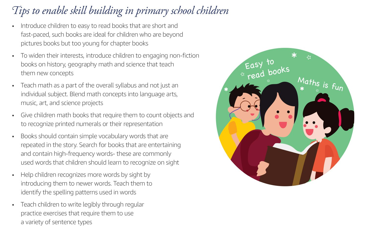 Tips to enable skill building in primary school children: