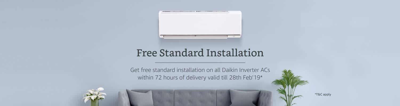 Free standard Installation on Daikin Inverter ACs
