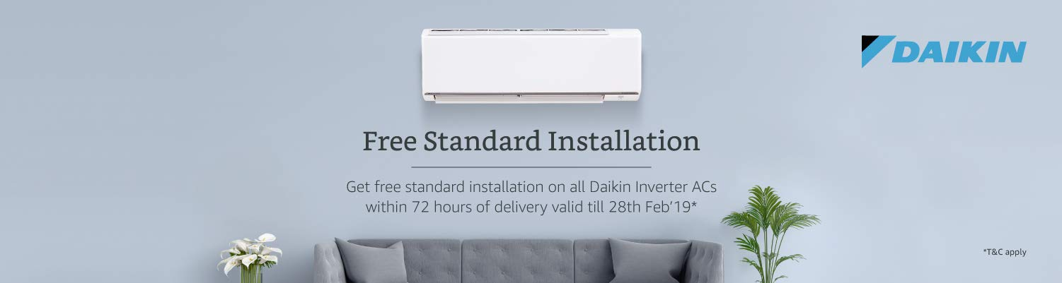 Free standard Installation on Daikin Inverter ACs