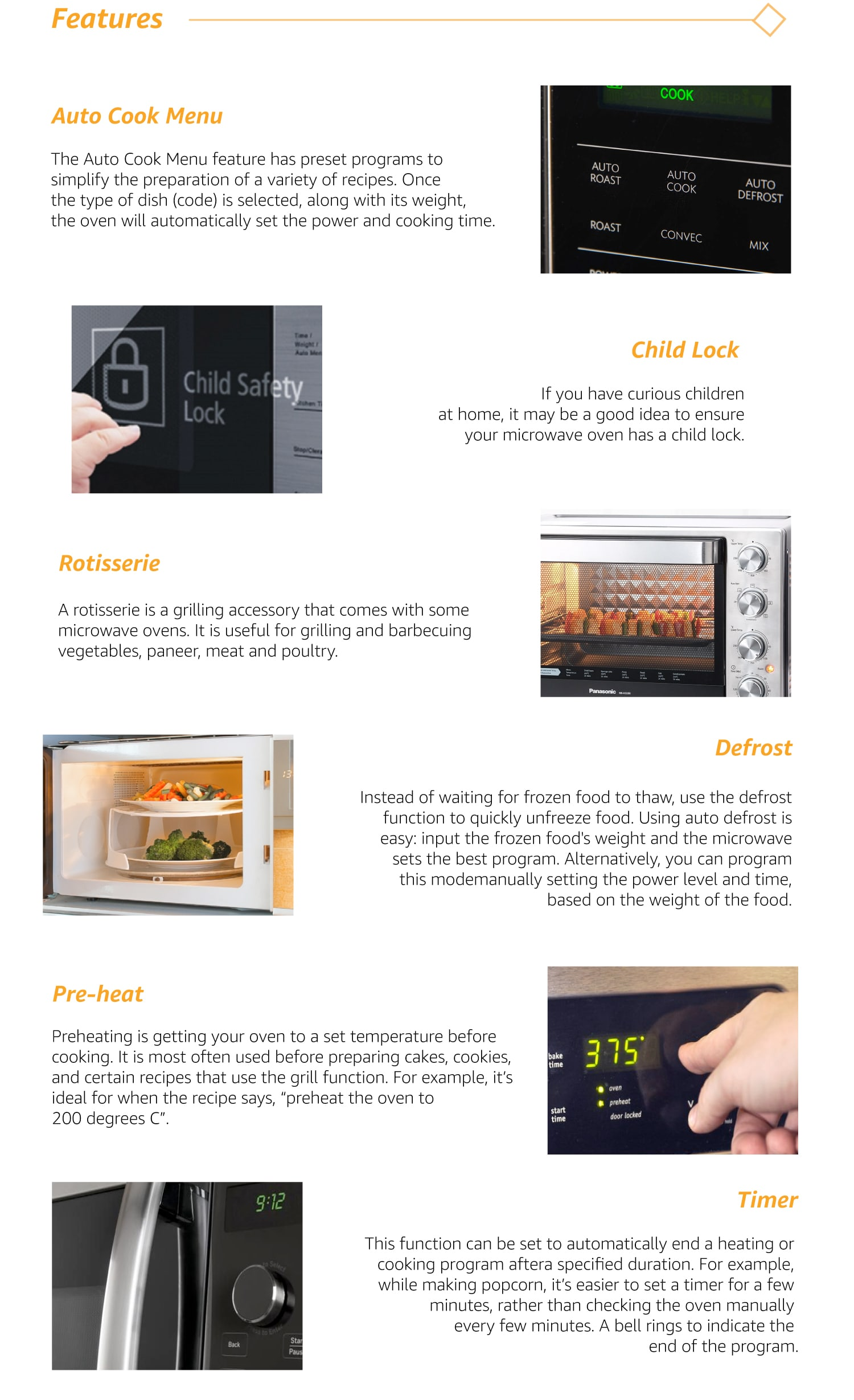 features microwaves