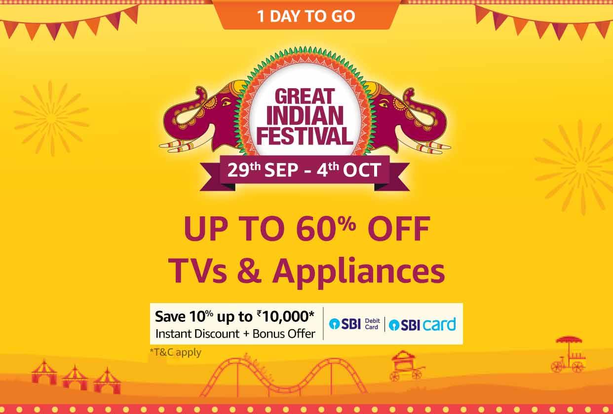 Upto 60% Off on TV & Appliances + SBI offer + Bonus Offers