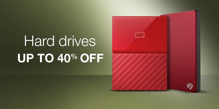 Up to 40% Off Hard Drives