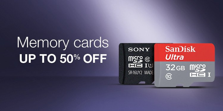 50% off Memory cards