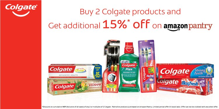Buy 2 Colgate products get additional 15% off