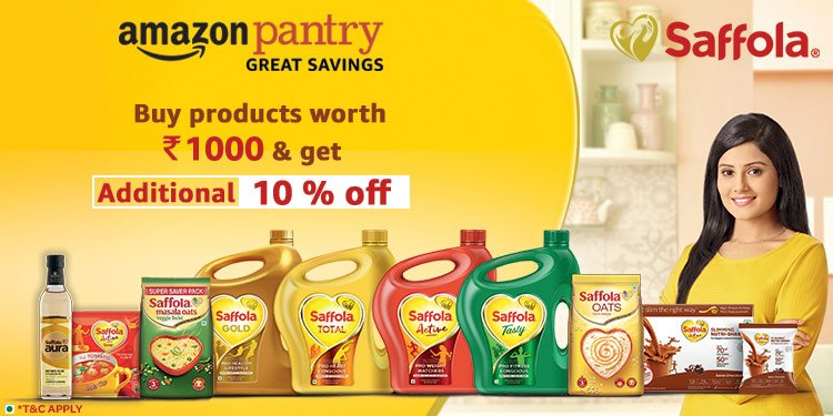 Saffola - Worth Rs 1000 & get 10% off