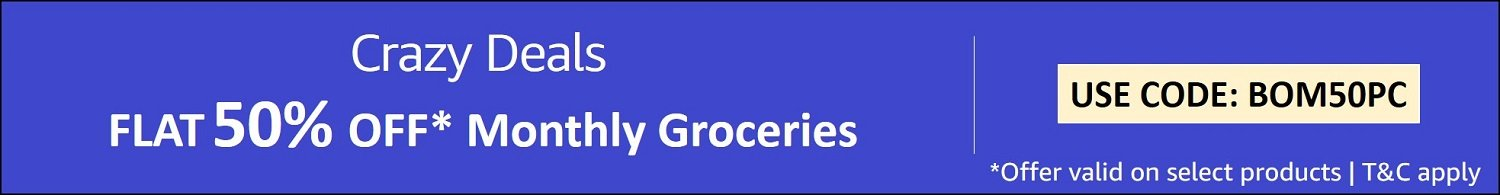 Flat 50% off* Monthly groceries