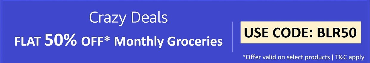 Flat 50% off Monthly Groceries