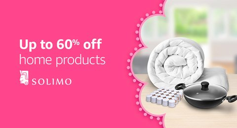 Up to 60% off on Solimo home products