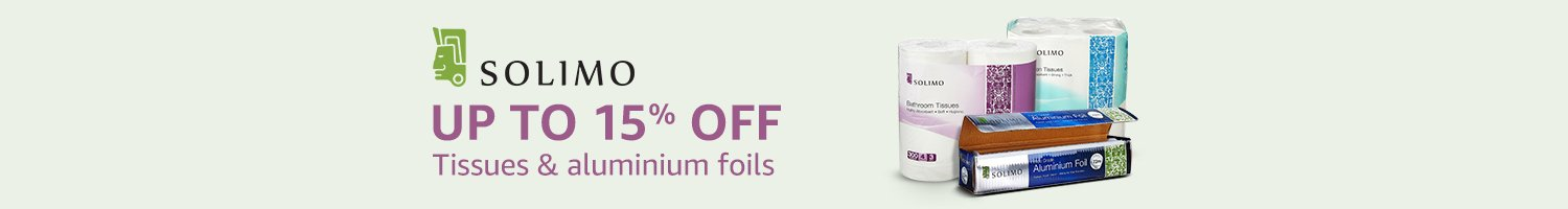 Upto 15% off on Solimo tissues and aluminium foils