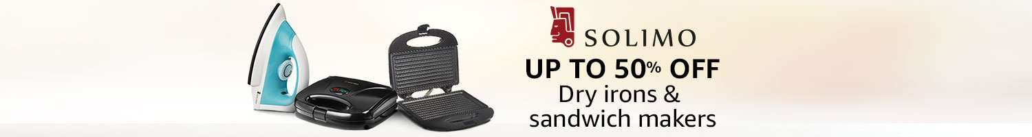 Up to 50% off: Dry irons & sandwich makers from Solimo