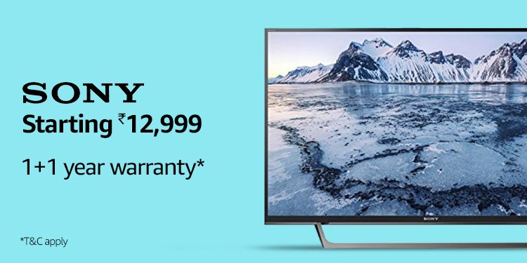 Sony TVs - Starting Rs. 12,999