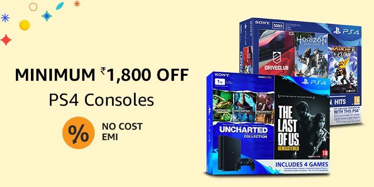 Minimum Rs.1800 off: PS4 consoles