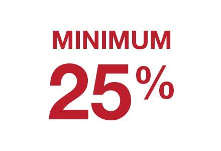 Minimum 25%