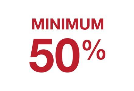 Minimum 50%