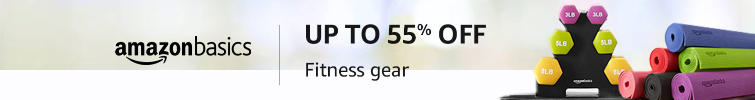 Up to 55% off: Fitness gear from AmazonBasics