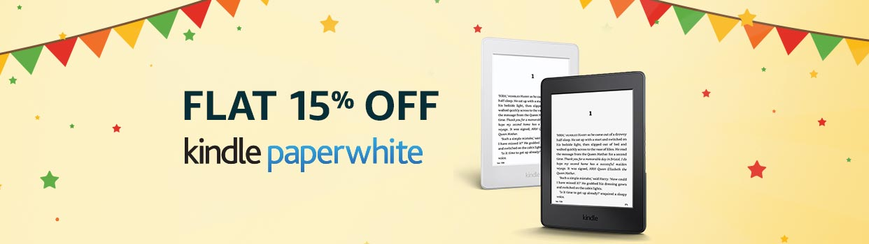 Flat 15% off: Kindle paperwhite