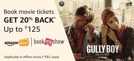 Book tickets for Gully boy and get Rs.125 back