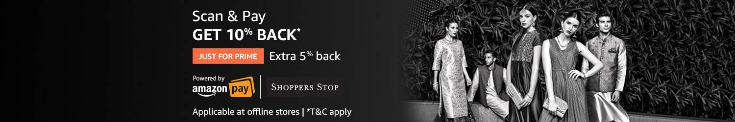 Scan & Pay at Shoppers Stop using Amazon Pay and get up to 15% back*