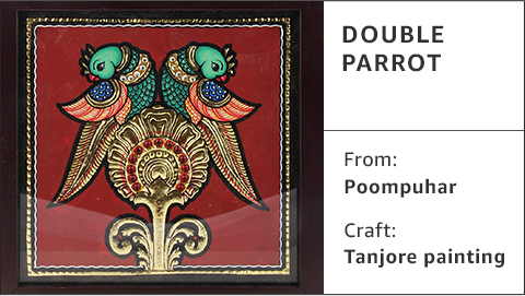 Double parrot tanjore painting