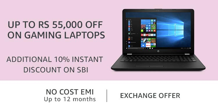 Up to Rs 55,000 off on Gaming Laptops