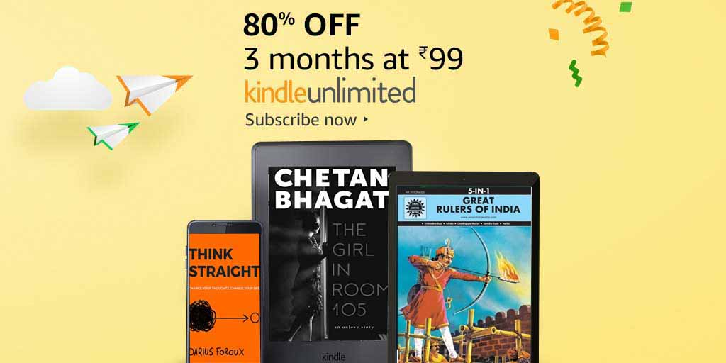 80% off: 3 months Kindle Unlimited at INR 99