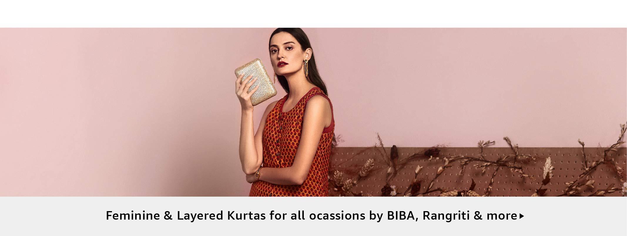 Feminine & Layered Kurtas for all ocassions by BIBA, Rangriti & more
