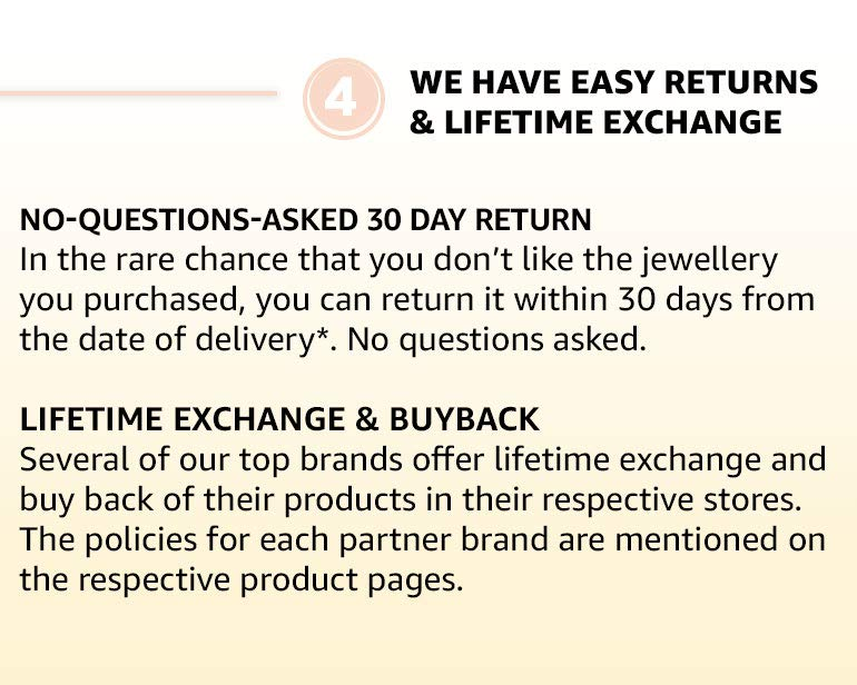 we have easy returns and lifetime exchange