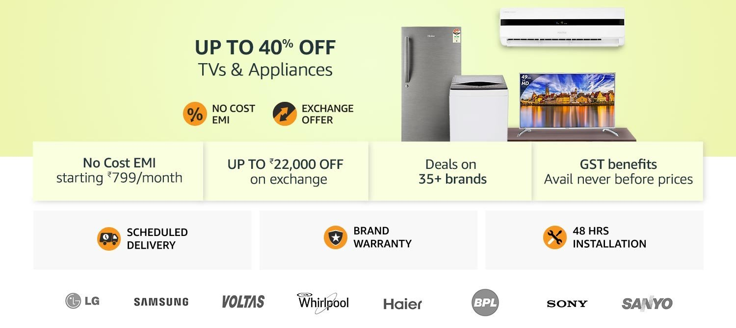Up to 40 % tvs and appliances