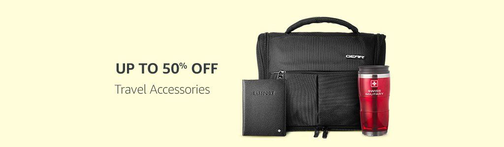 Travel accessories up to 50% off