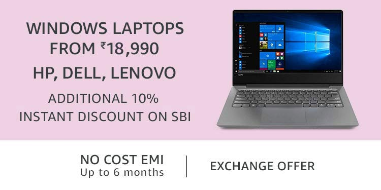 Windows Laptops from Rs 18,990| HP, Dell, Lenovo
