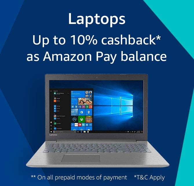 Laptops 10% cashback* as Apay