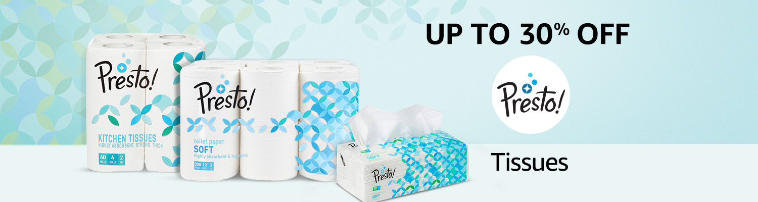 Up to 30% off on tissues from Presto!