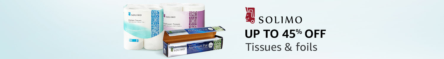 Up to 45% off: Tissues & foils from Solimo