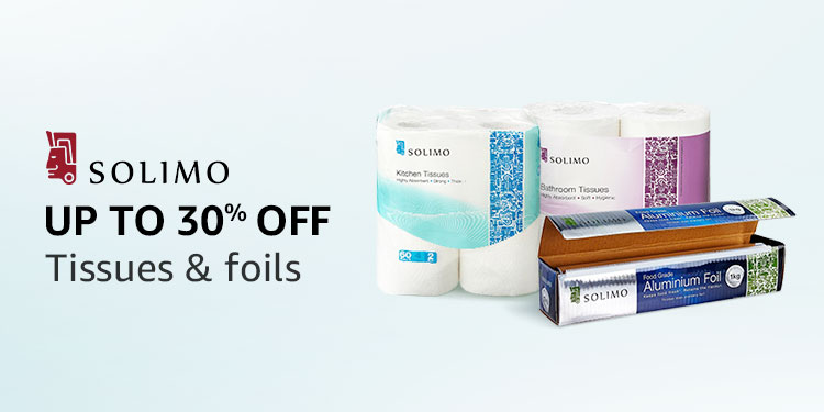 Up to 30% off: Solimo tissues & foils