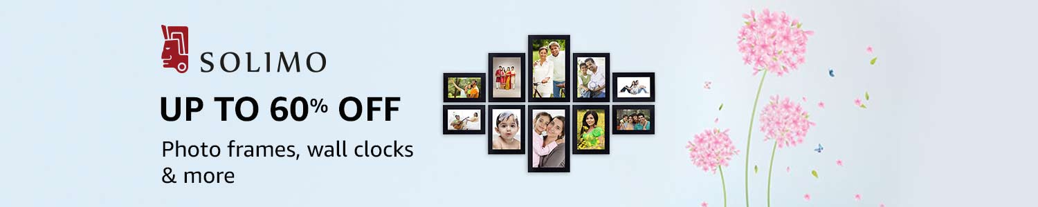 Up to 60% off: Photo frames, wall clocks & more from Solimo