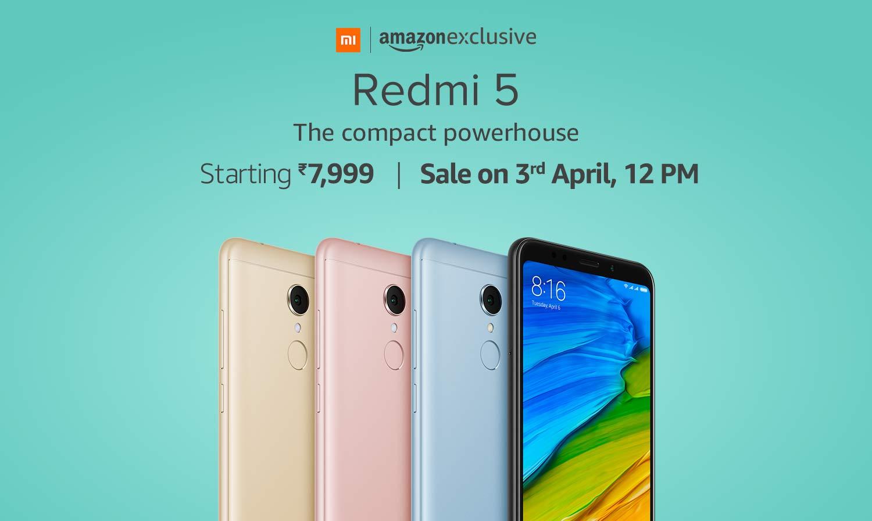 redmi 5- sale on 3rdapril