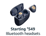 Bluetooth headsets, starting ₹549