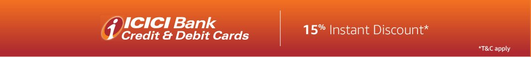 15% instant discount with ICICI bank cards