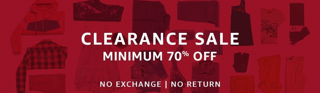Clearance Sale Minimum 70% Off