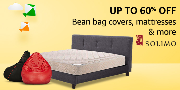 Up to 60% off: Bean bag covers, mattresses & more from Solimo