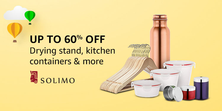 Up to 60% off: Drying stand, kitchen containers & more from Solimo