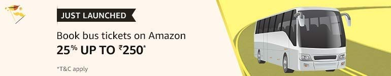 Book Bus Tickets on Amazon 25% uptp Rs 250
