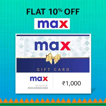 amazon.in - 9% Discount on Max E-Gift Card