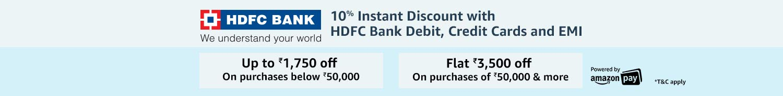 10% Instant Discount   HDFC bank
