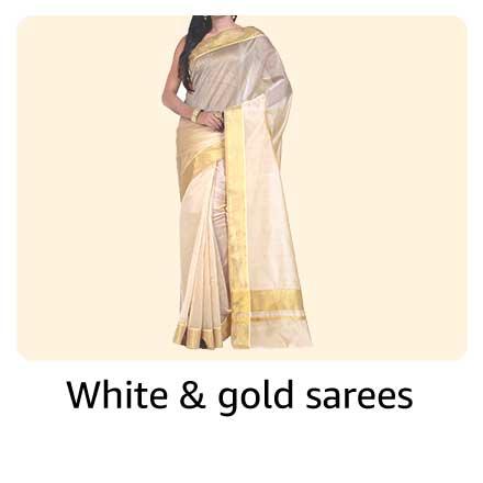 White & gold sarees