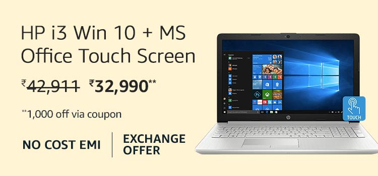 HP i3 Win 10 + MS Office Touch Screen